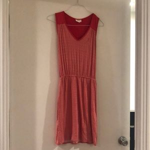 Coral Anthropologie Jersey Dress